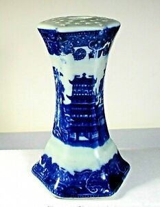 """Hatpin holder flo blue Vctoria Ware Ironstone 6 sided 5""""x3"""" scenic antique ᵇ P3"""