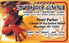 Peter Parker Spider-Man spiderman novelty fake Id i.d. card Drivers License