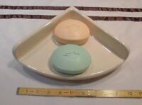 "Ceramic New Stock...Large 7""... Corner Soap Dish-Shelf-Tray *Bright Almond*  NEW"