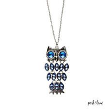 RETAIL $36 Park Lane Jewelry WIGGLES OWL BLUE necklace sapphire crystals