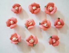 10 Porcelain Flower Beads - 13mm - Dark Peach