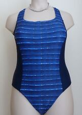 FAST LANE SWIMSUIT PLUS SIZE 18 20 SOFT CUP BLUE STRIPE TUMMY CONTROL COSTUME