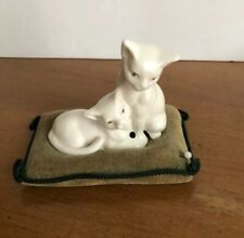 Vintage Collectible Figural Pin Cushion  White Porcelain Cats on Green Pillow