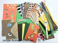 Childrens ART & CRAFT Jungle Set Kids Creative Crafting Supplies Activity Pack