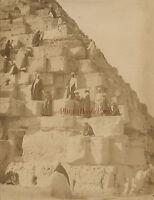 Egitto ASCENSIONE Di La Piramide Vintage Albumina Ca 1875
