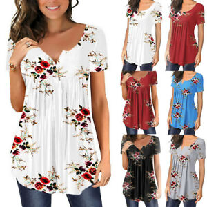 Womens Ladies Floral Short Sleeve Tops T Shirts Casual Summer Loose Tunic Blouse