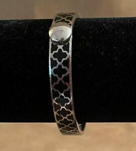 "Halcyon Days Agama Black and Silver Bangle Bracelet men women 7 3/4"""