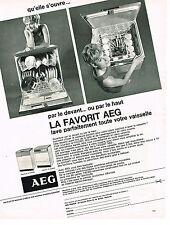 PUBLICITE ADVERTISING 014   1967   AEG    lave vaisselle FAVORIT