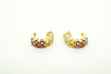 Womens 14K Yellow Gold Multi color CZ Stones Earrings #22499