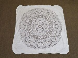 """New Vintage Lace Ivory Square Floral Pattern Cotton Blend Tablecloth 41"""" Square"""