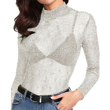 Ladies Women Sequin See-Through Long Sleeve Glitter Top Mesh Sheer Shirt Blouse