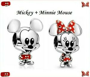 Lot of 2 Silver Mickey & Minnie Mouse European Spacer Charm Beads!!