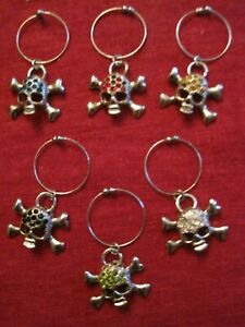 Silver Skulls with Corlored Rhinestones Wine Glass Charms Marker set of 6