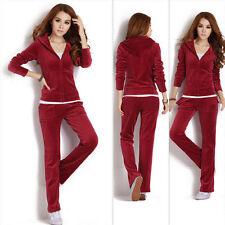 New Women Velour Hoodie Track Suit Jacket Sweat Pants Set Sports Yoga Gym Clothe