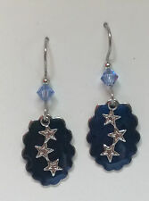 SILVER FOREST BLUE WITH SILVERTONE STAR SURGICAL STEEL DROP DANGLE  HOOK EARRING