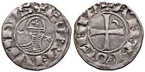CRUSADERS (1163-1188 AD) Bohemond AR Denier. Antioch #CR 8159