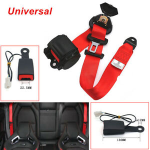 Adjustable 3 Point Car Truck SUV Seat Belt Lap Diagonal Retractable Safety Red