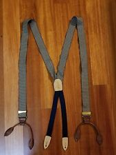 Cole Haan Blue Cream Houndstooth Braces Suspenders Brass Hardware Leather USA