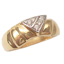 Ring Engagement Ring Band Yellow Gold 18 Kt. Women's Vintage Style with Zircons