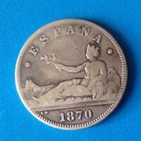 Espagne. 2 pesetas, 100 pièces au kilo 1870