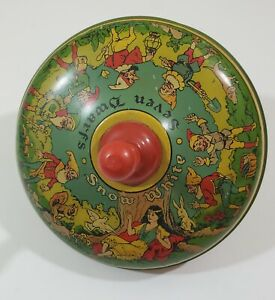 Vintage Snow White and the Seven Dwarfs Tin Spinning Top - 8 Inch Diameter