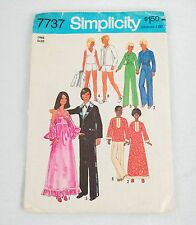 Fashion Doll Clothes Sewing Pattern Vintage His and Hers 1976 Simplicity 7737