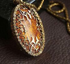 NEW Oval Amber Hollow Rhinestone Long Chain Pendant Necklace Jewelry Women