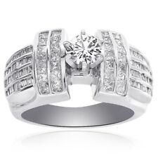 1.35 Carat Round Cut Diamond Engagement Ring 14K White Gold