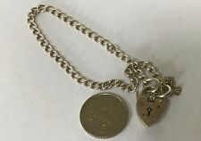 FINE VINTAGE SILVER CHARM BRACELET WITH HEART PADLOCK CLASP & SAFETY CHAIN