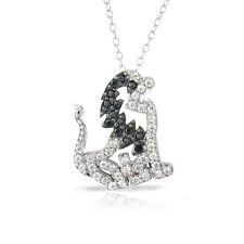 925 Silver Black & White CZ Lion Necklace, 18""