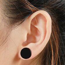 2x Black Stainless Steel Round Barbell Earrings Ear Stud Men's Punk Jewelry