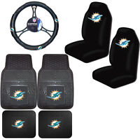 NFL Miami Dolphins Car Truck Seat Covers Floor Mats & Steering Wheel Cover