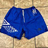 Vtg 80s 90s UMBRO Spellout  Mens wet look Nylon Soccer shorts NWT XL Vintage