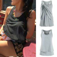 Women Maternity Pregnant Lactating Cotton Shirt Sleeveless Vest Blouse T-shirt