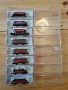 8x Fleischmann N Gauge (8203/8200/8210 x2/8525/8350 x2, +1) Bundle Freight Wagon