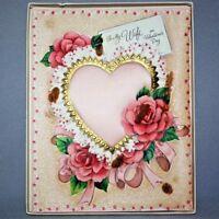 Vintage 1950s HALLMARK Glitter Satin Heart VALENTINE CARD ORIG BOX Wife Roses