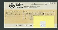 wbc. - CHEQUE - CH183 - USED -1960's - MIDLAND BANK, SARK, CHANNEL ISLANDS