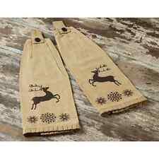Prancer Christmas Button Loop Kitchen Towel 2 Pc Stenciled Reindeer Snowflake