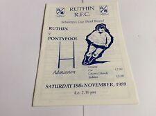 Ruthin v Pontypool Schweppes Cup Third Round November 1989
