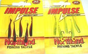 Northland Tackle Impulse Rigged Mini Smelt Jigs (Lot of 2-Chart Sh/Bleeding Sh)