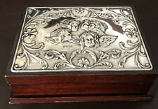 Vintage Sterling Silver Topped Wooden Jewellery Box, Sheffield 1994