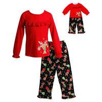 """Girl 4-14 and 18"""" Doll Matching Reindeer Christmas Pajamas Outfit American Girl"""