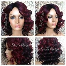Synthetic Full Wig Short Burgundy Red Wavy Dark Root Bob Side Part Heat Safe Ok
