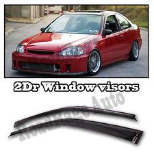 96-00 Honda Civic JDM Window Wind Rain Shield Guard Vent Smoke Deflect Visor 2Dr