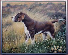 Henri Gautier *1955: Jagdhund in freier Natur, Ölmalerei auf Leinwand 50 x 60 cm