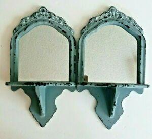 "2 Gray Distressed Decorative Farmhouse Vintage Retro Wood Shelf Mirrors 13"" x 7"""