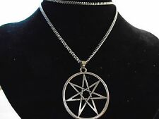 "SILVER SEPTAGRAM pendant necklace 27""  CHAIN Hi Quality PAGAN MAGIC JEWELLERY,,"