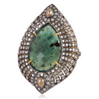 Pave Diamond Pear Emerald Designer Ring 18k Gold Sterling Silver Wedding Jewelry