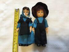 Set of 2 Vintage 5� Amish Plastic Dolls - Blue and black clothes (Ff29)