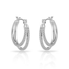 Silver Double Hoop Earrings Embellished With Crystals From Swarovski